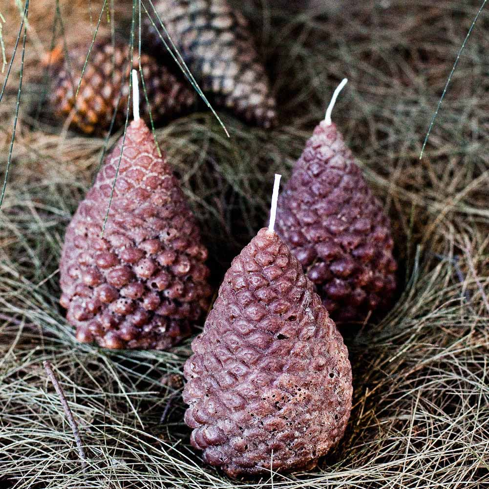 Pinecone Christmas Candles