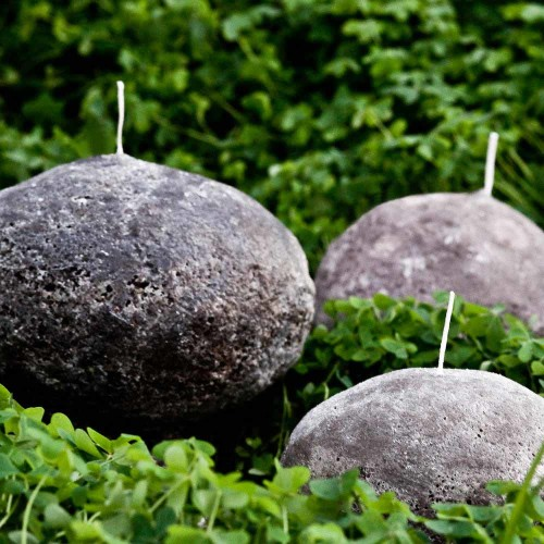 Set of 3 Sizes  - Stone Boulder Candles