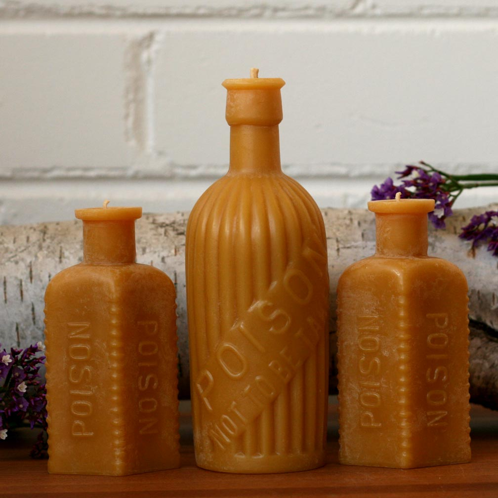 Antique Bottle Beeswax Candles