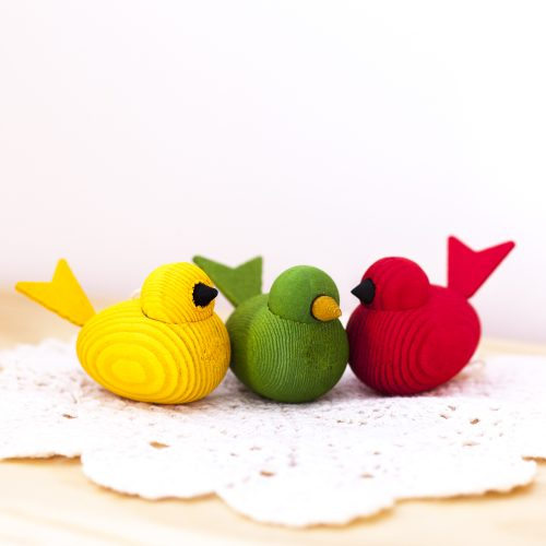 Three little wooden birds